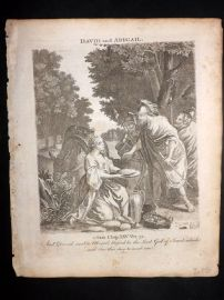 Butley 1762 Antique Religious Print. David and Abigail